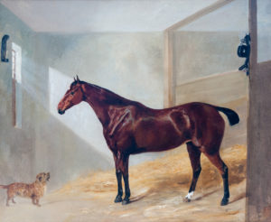 'Carriage Horse and Dog in a stable'
